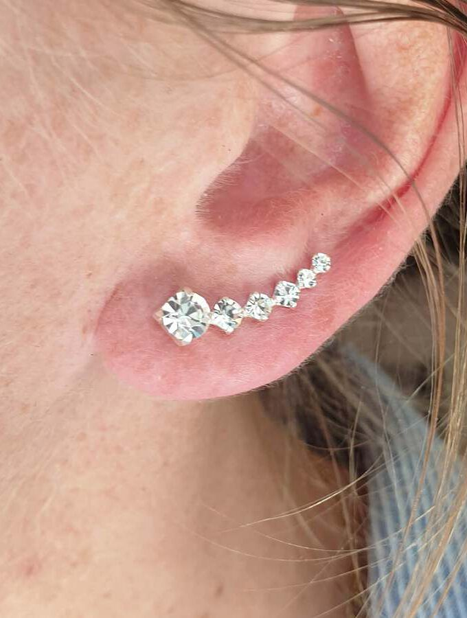 Oorbellen earcuff zilveren stenen