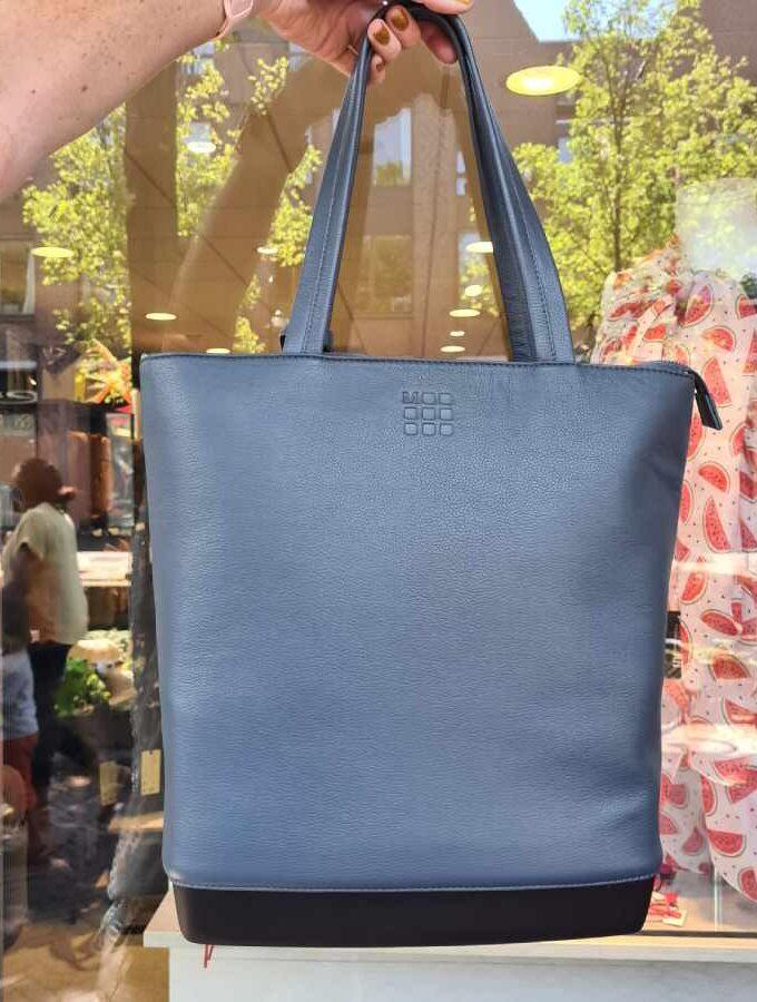 Blauw leren shopper Moleskine met harde bodem