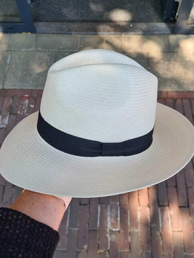 Panamahoed zwarte band wit