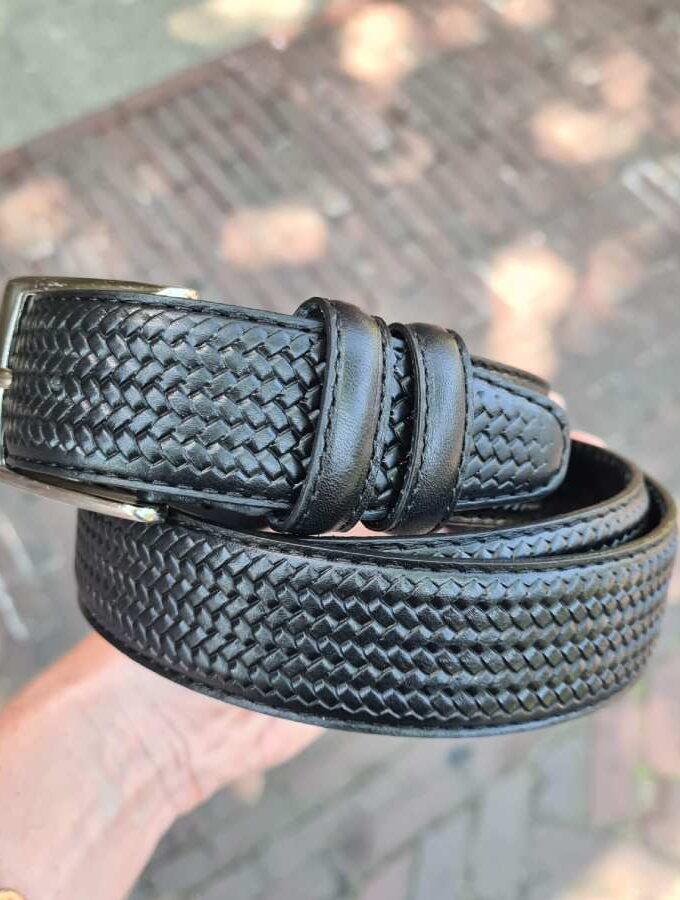 Zwarte leren riem gevlochten print