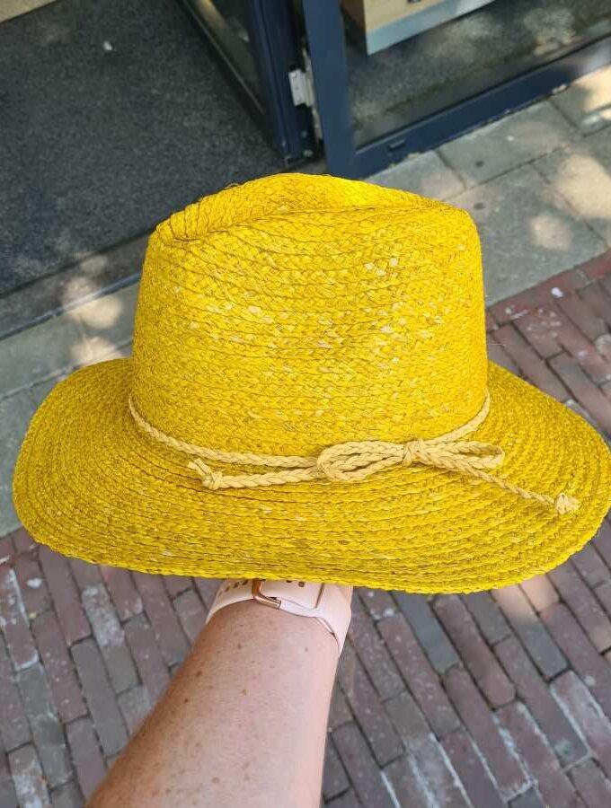 gele hoed echt stro gleufhoed strik