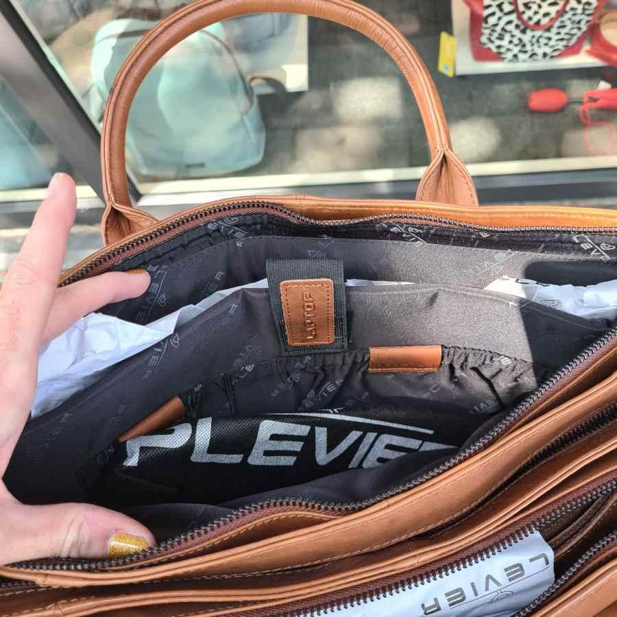 Plevier cognac 862-2 werktas laptop