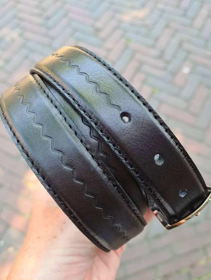 zwarte leren riem gesp zilver