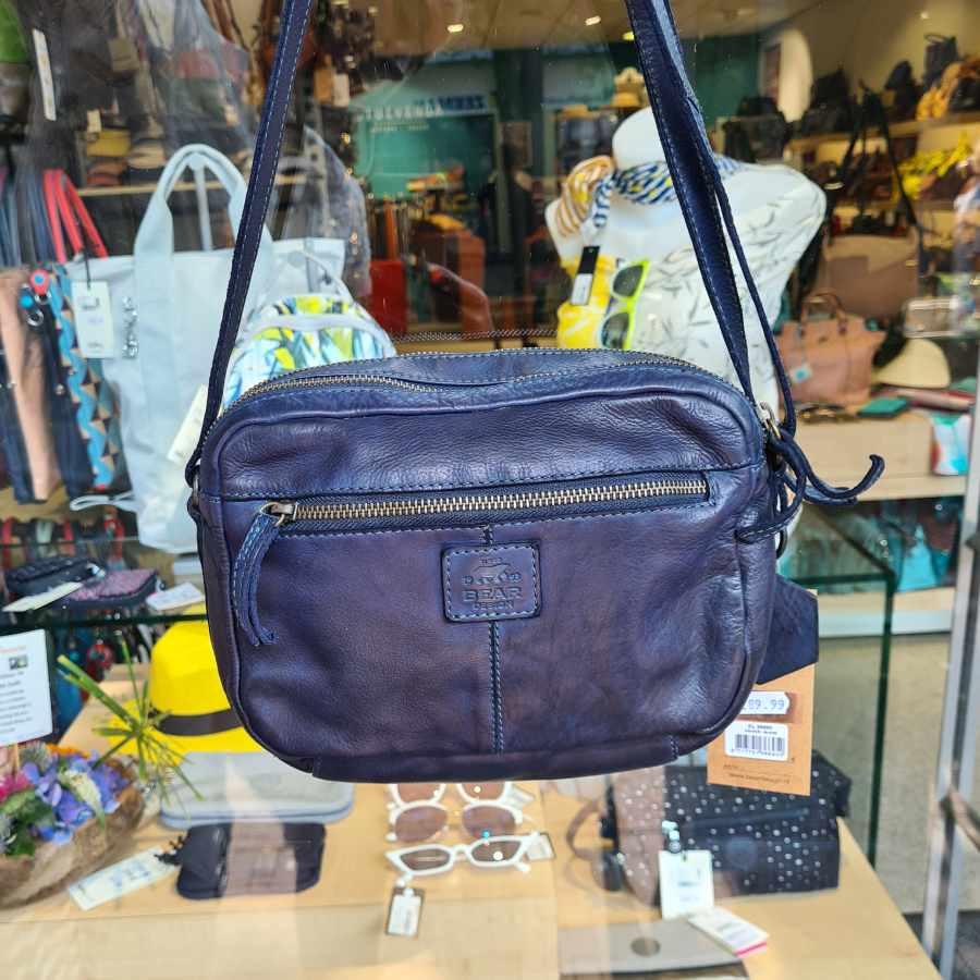 Donkerblauwe tas dames twee ritsvakken