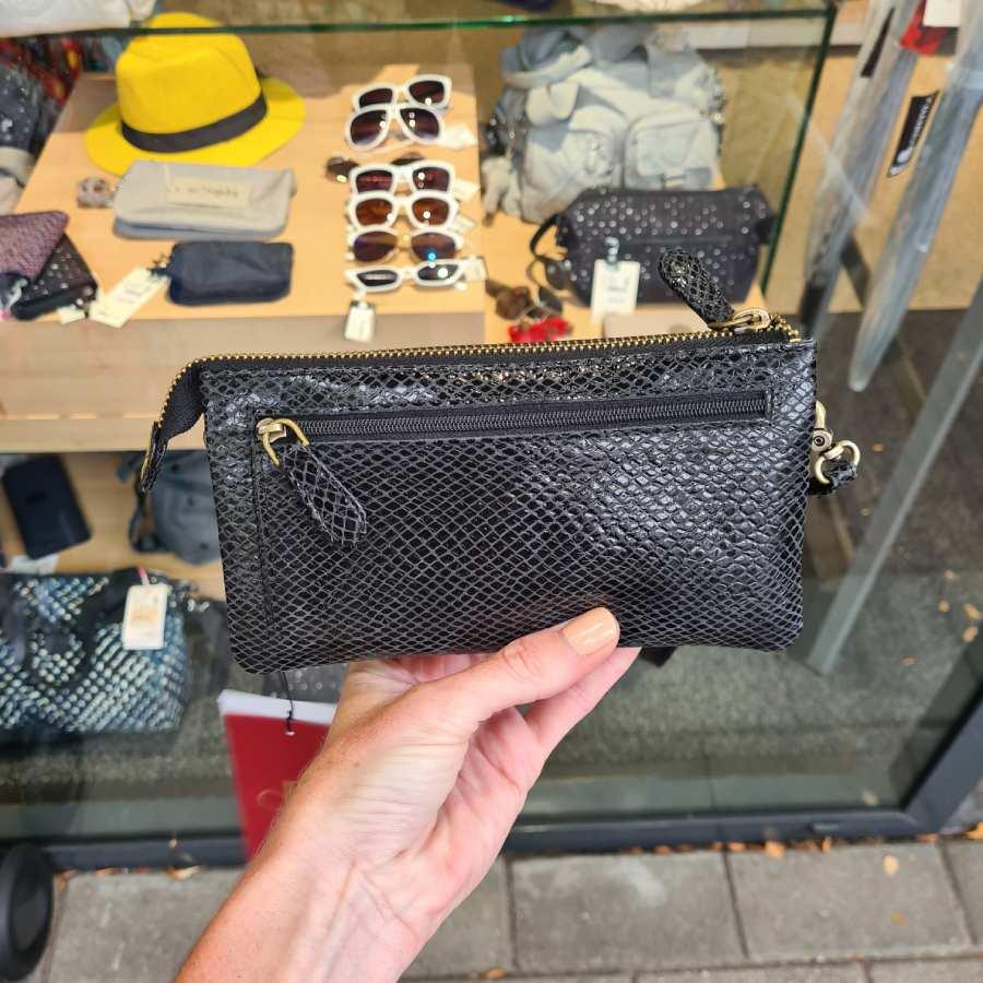 Clutch snake print zwart grote portemonnee