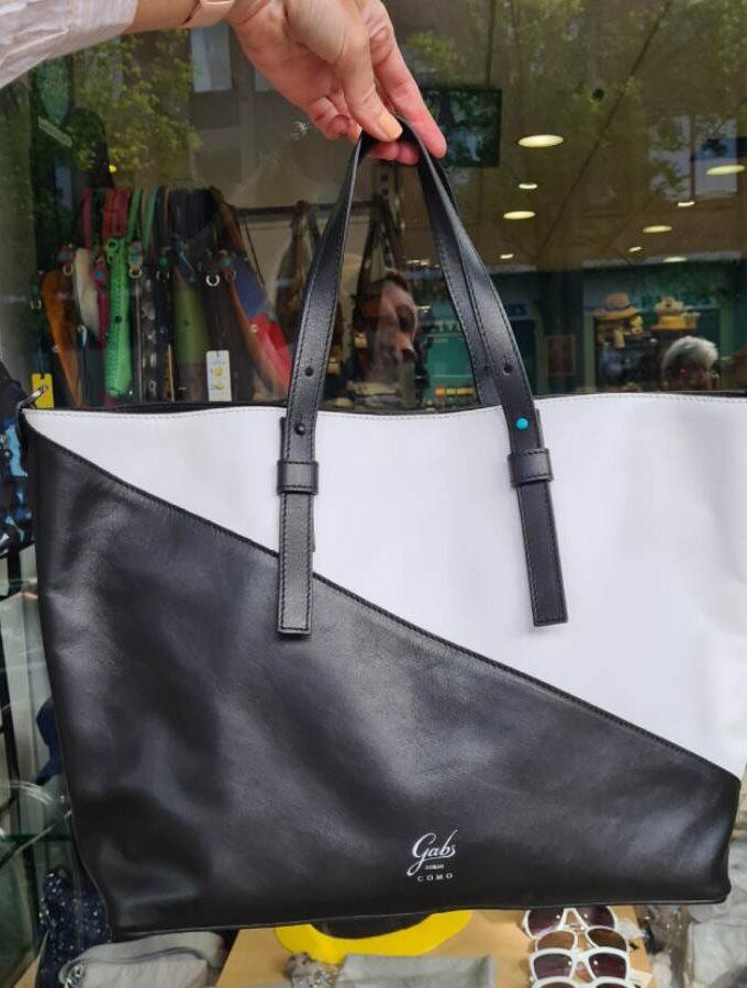 Gabs Frida Large Escudo Bicolor Nero Bianco shopper diagonaal