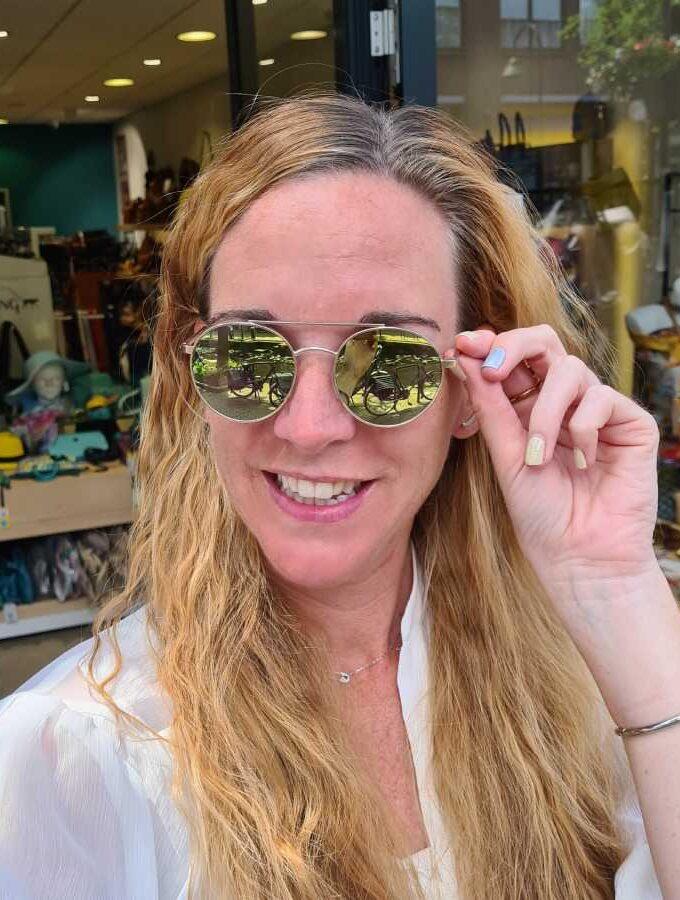 Ronde zonnebril spiegelende glazen groen