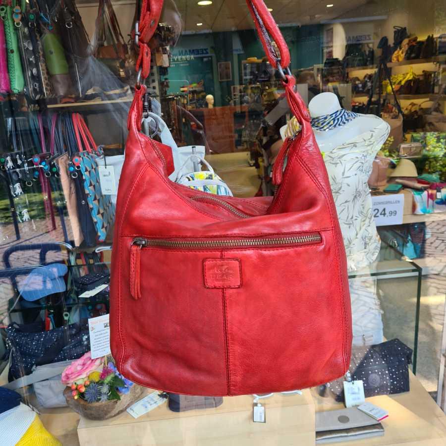 Rood leren schoudertas met voorvak Bear Design