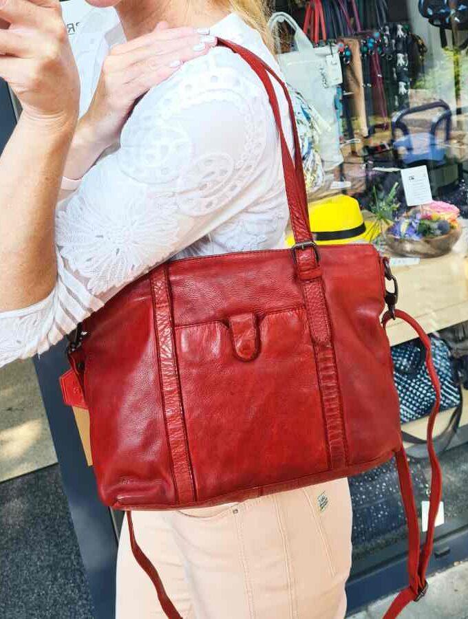 Shopper rood leer Beardesign tussenvak