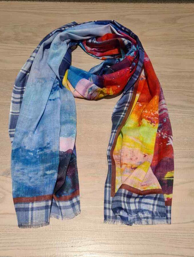 Langwerpige sjaal blauw katoen modal