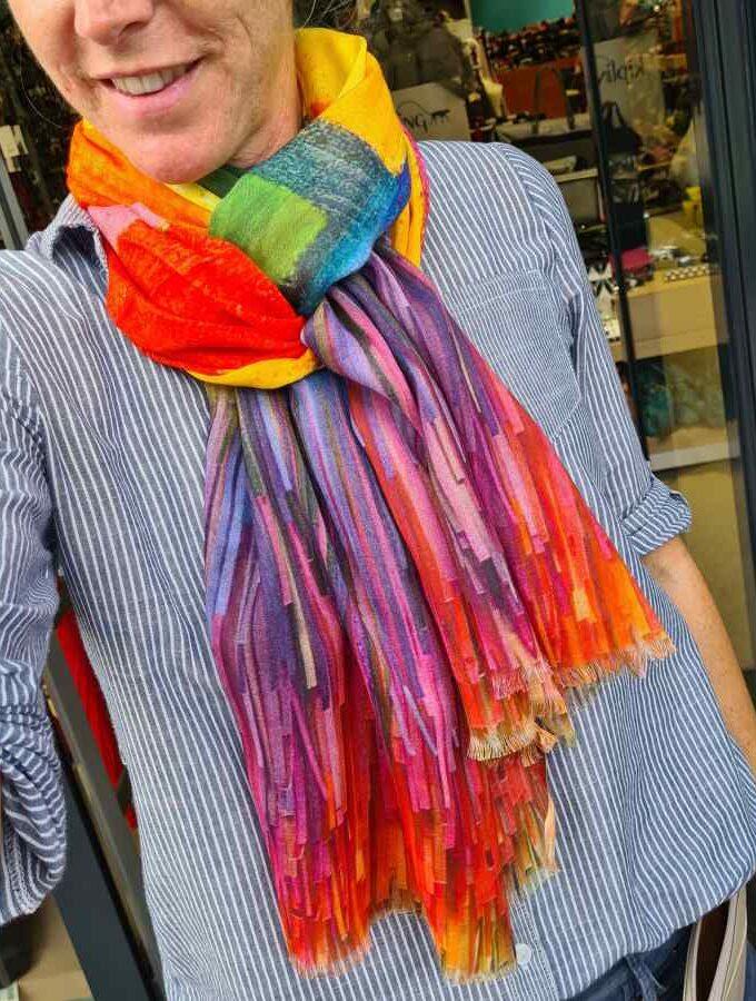 Sjaal veel kleur modal met katoen