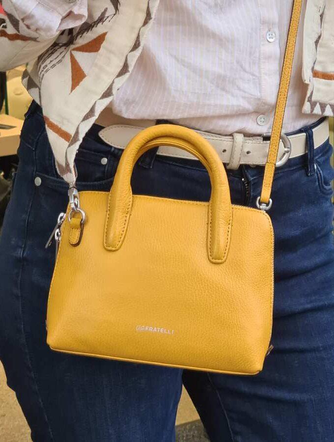 Gigi Fratelli geel leren handtas met schouderband